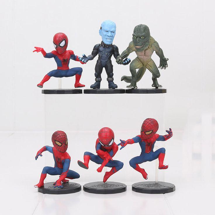 6Pcs Set WCF The Amazing Spider-man 2 Spiderman Electro Lizard Superhero Pvc Action Figures 10cm Collection Model Figma Kids Toy #Affiliate