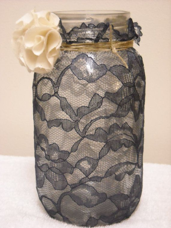 Could do this with white lace & the beer & wine bottles, alternating between lace, spray paint, & maybe twine or yarn?