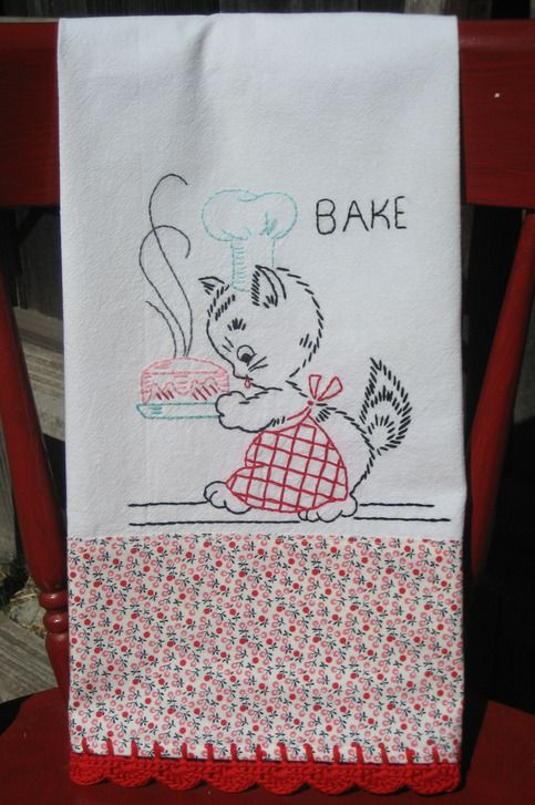 vintage inspired baking kitty flour sack tea towel from vintage grey  $25.00 or DIY!