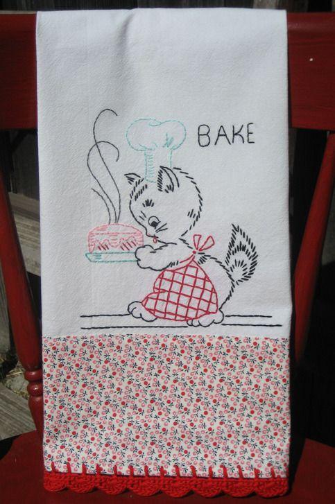 vintage inspired baking kitty flour sack tea towel from vintage grey  $25.00 or DIY!