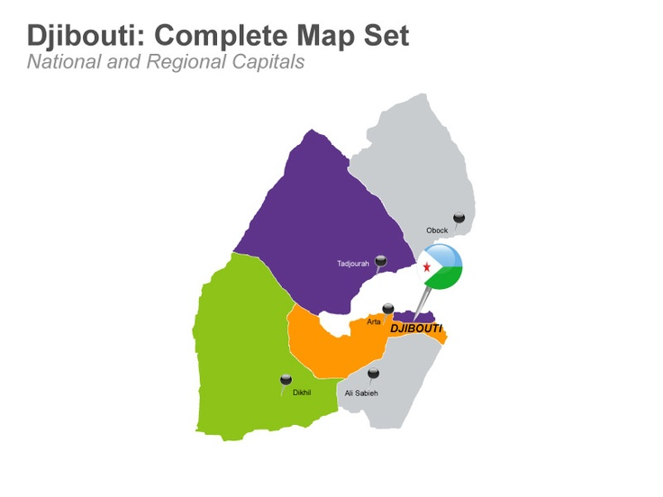 This deck of 20 editable Keynote map slide consists of the outline map of Djibouti with its 6 regions along with their regional capitals and major cities; national flag and icons. Readily edit and use it today! #KeynoteMaps #Djiboutimap - $31.99