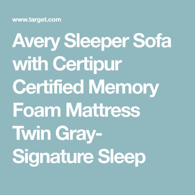 Avery Sleeper Sofa with Certipur Certified Memory Foam Mattress Twin Gray- Signature Sleep