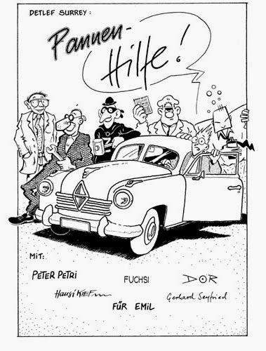 """""""Pannen-Hilfe!"""" 5-seitige Comicgeschichte """"Pannenhilfe"""" von Detlefs Surrey, gezeichnet von Peter Petri, Hansi Kiefersauer, Fuchsi, Gerhard Seyfried und Hendrik Dorgathen. In """"Emil - in flagranti"""", Leue Verlag 1987,"""