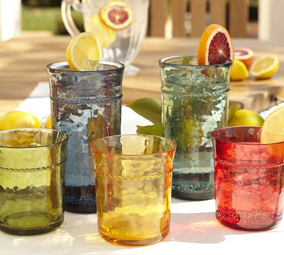 Rope Outdoor Drinkware, Set of 4 - Colored | Pottery Barn - made of melamine, dishwasher safe