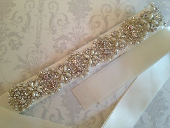 Crystal Bridal Sash-Rhinestone Wedding Dress Belt-Bridal Sash-Wedding Dress Belt on Etsy, $118.70