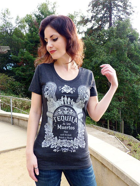 Tequila T-shirt Sugar Skull Shirt  Day of the Dead by binarywinter