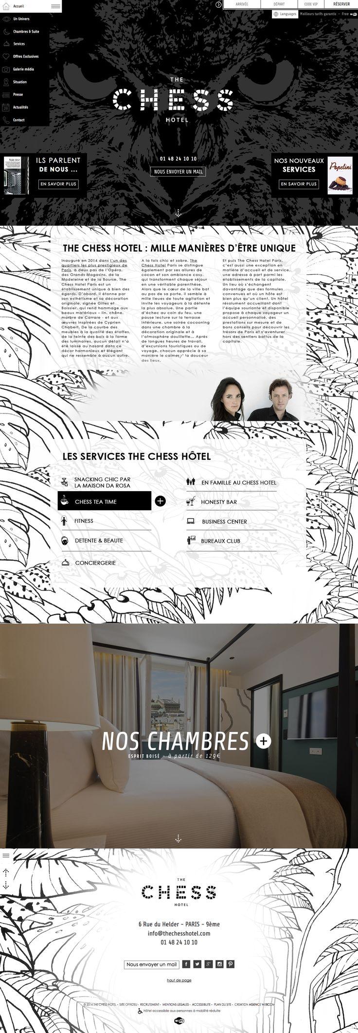 Inauguré en 2014 dans l'un des quartiers les plus prestigieux de Paris, à deux pas de l'Opéra, des Grands Magasins Printemps et Galeries Lafayette, de la Madeleine et de la Place Vendôme, The Chess Hotel Paris est un établissement 4 étoiles unique à bien des égards.
