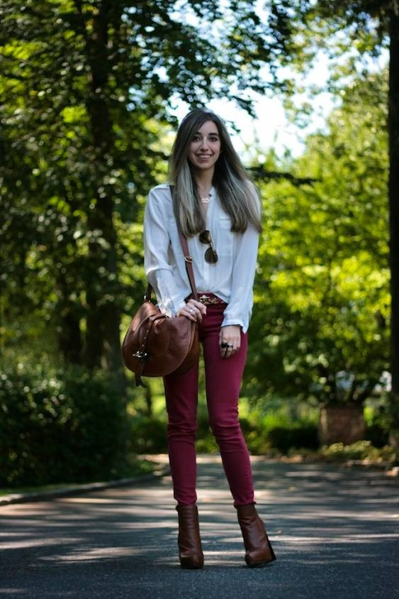 Long sleeves + red skinny + brown ankle boots.