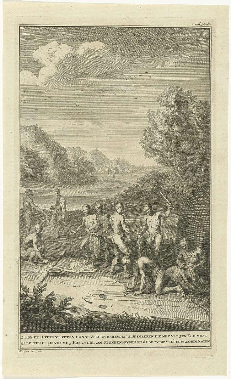 Michiel Elgersma | Leerlooiende Khoi, Michiel Elgersma, 1727 | In een landschap met bergen op de achtergrond, zijn negen mannen in de weer met verschillende stadia van het prepareren van huiden. Onder de voorstelling wordt de werkwijze in zes stappen uitgelegd; van het voorbereiden van de huiden tot het aan elkaar naaien ervan.
