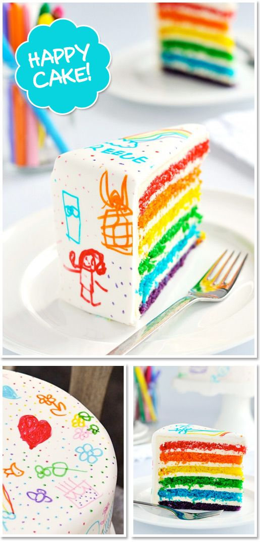 What a fun cake!! {Rainbow Doodle Cake}