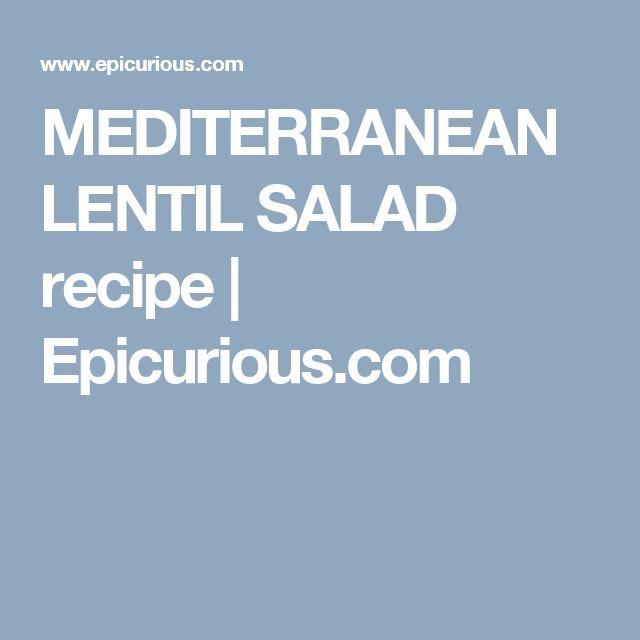 MEDITERRANEAN LENTIL SALAD recipe   Epicurious.com