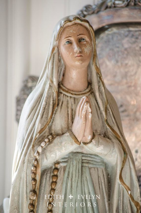 Lg Antique French Our Lady of Lourdes Statue by edithandevelyn