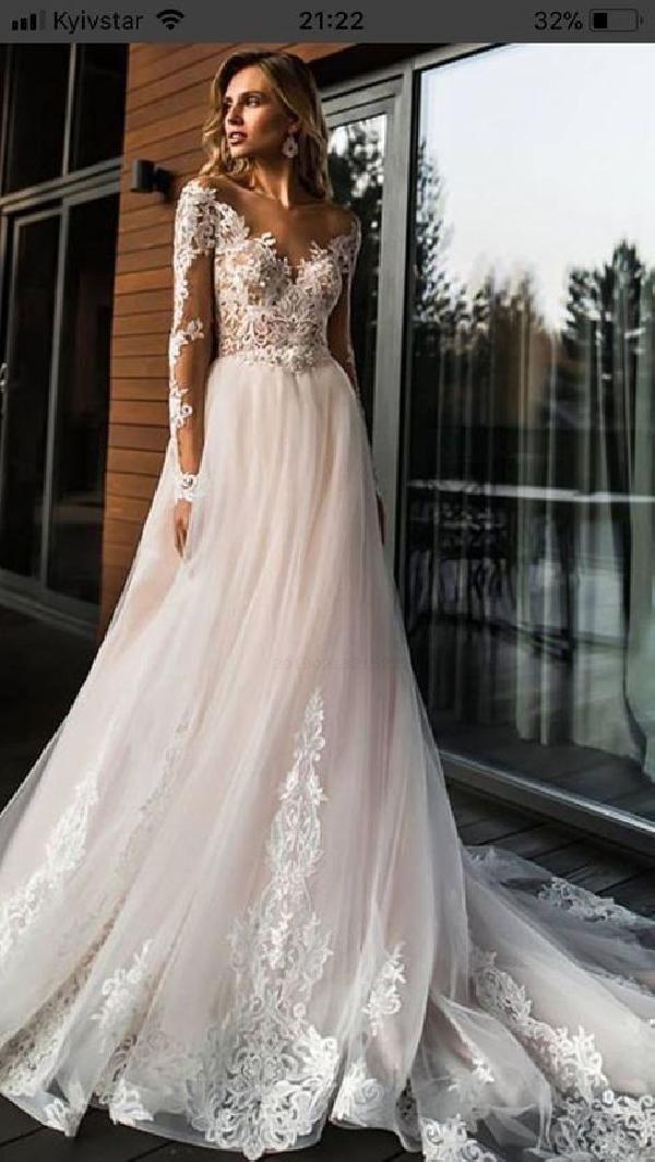 Kundenspezifische passende Hochzeitskleid Spitze, Hochzeitskleid 2019, Hochzeitskleid mit Applikationen, lange Ärmel Hochzeitskleid