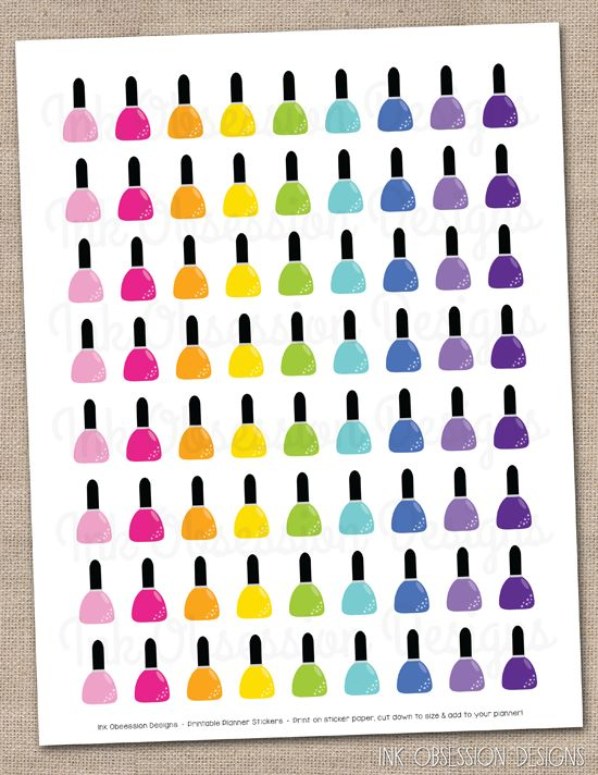 Nail Polish Planner Stickers Instant Download DIY Printable PDF
