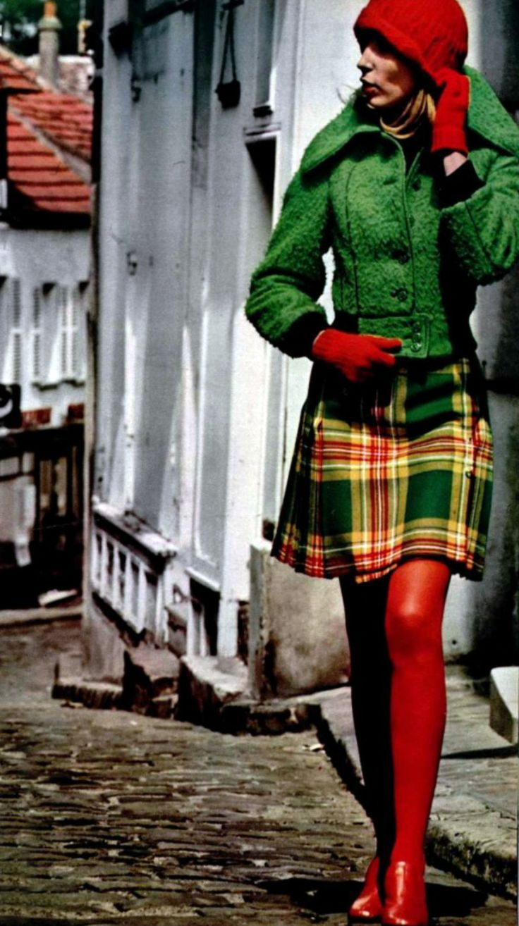 1972 Fashion early 70s vintage fashion print ad model magazine red green plaid tartan jacket hat gloves tights short boots shoes skirt dress