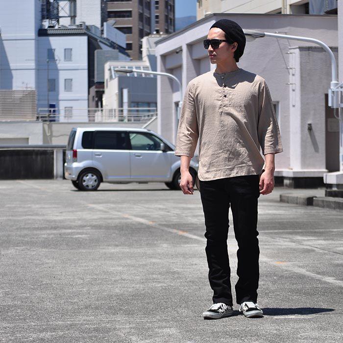【楽天市場】オーディエンス Audience シャツ Tシャツ 綿麻ツイル ノーカラープルオーバーコンチョボタン 7分袖 オーバーサイズシャツ 7分袖 メンズ AUD1886:firstadium