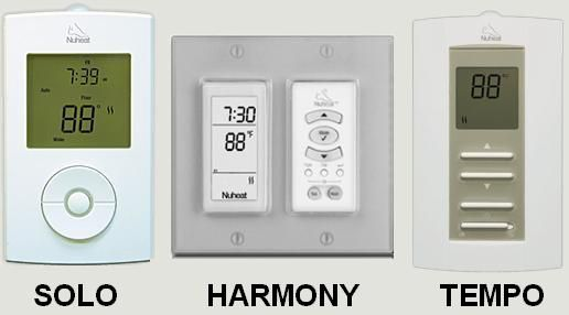 Three different thermostats to choose from. Solo: 7-day programming. Harmony: flush mount behind any double-gang wall plate, 7-day programming. Tempo: non-programmable control