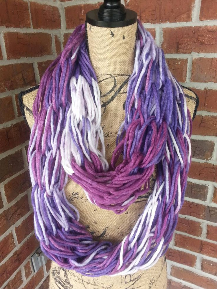 New to KatesHandiwork on Etsy: Wool Arm knitted infinity scarf purple ombre neutral scarf knit scarf infinity scarf Bulky arm knit scarf fall scarf shades of purple (26.00 USD)