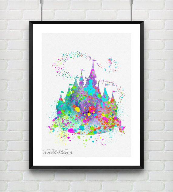 Disney Nursery Wall Decor : Princess castle disney baby girl watercolor