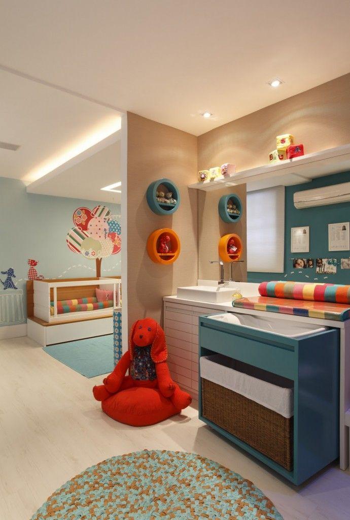 SPA bebe com ofuro infantil nichos coloridos redondo com espelho e trocador