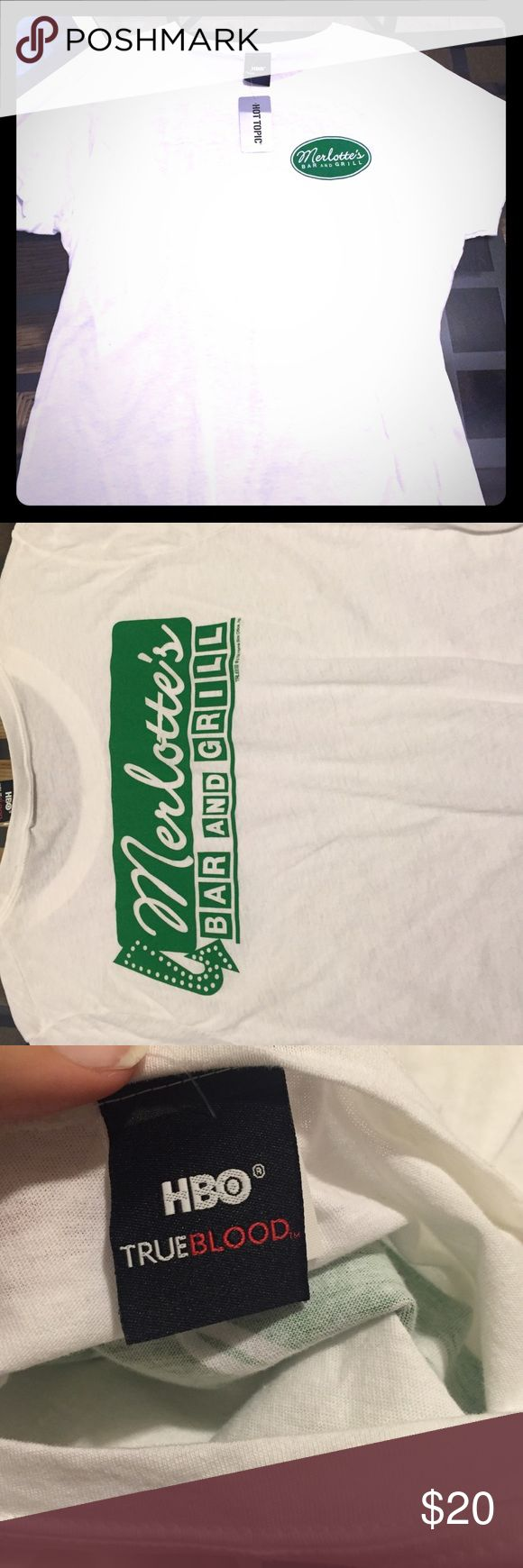 NWT! True blood t shirt Merlotte's bar and grill t shirt, modeled after the uniform Sookie wears on the show true blood. NEVER BEEN WORN! I bought this as a potential Halloween costume, but I ended up wearing something else. Official HBO merchandise! Tops Tees - Short Sleeve