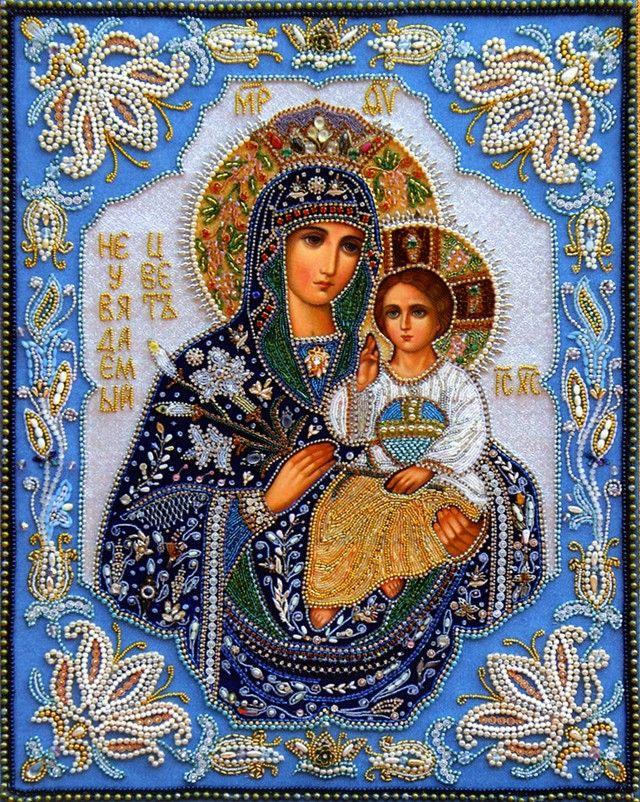 Шамордино, вышитая икона. «Не рыдай мне мати» икона Божией Матери.