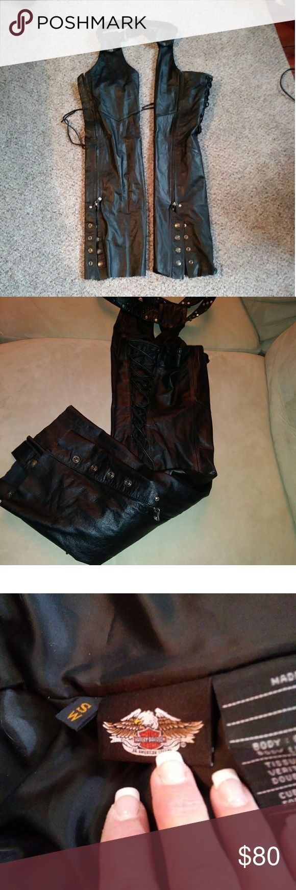 Harley Davison chaps Soft Leather Harley Davison chaps  Studded harley belt 34inches  Easy to change belt  Chaps are 39 inches from waist to boot. Excellent condition. Harley-Davidson Other