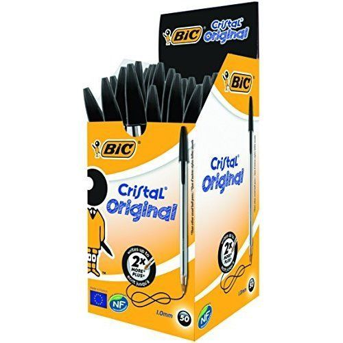 ICYMI: Box Of 50 BIC Cristal Original 1.0mm Black Ink Ballpoint Pen Pens Fast Shipping