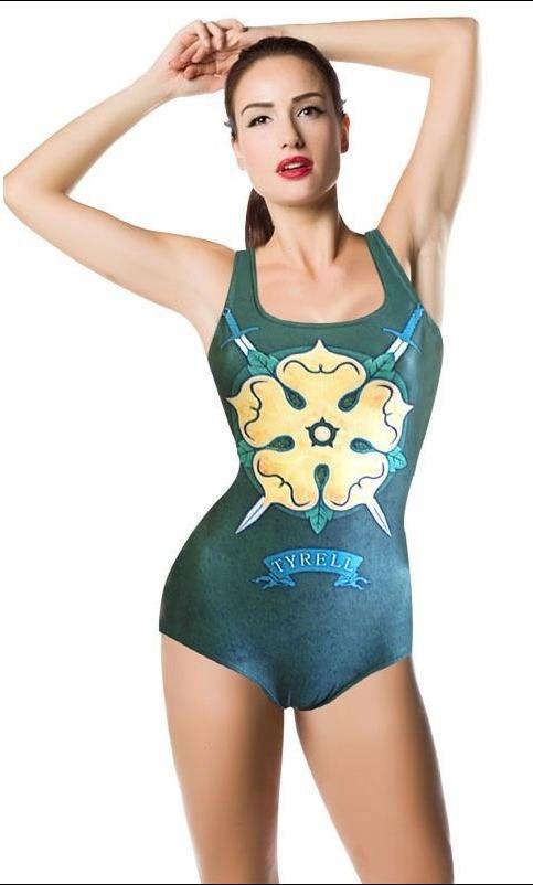 Bañador chica Casa Tyrell. Juego de Tronos Bonito bañador inspirado en la gran serie de Tv Juego de Tronos. Con el logo de uno de los Reinos, Casa Tyrell.