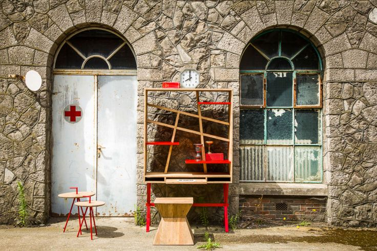 V_LAB EXXES Bureau Bookcase and Diabolo Stool. Mummy&Daddy Longlegs in red.