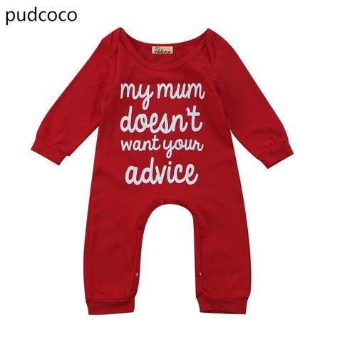 0e22b66c9 Red Letters Print One Piece Baby Rompers Outfits Long Sleeve Infant ...