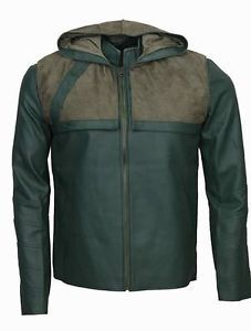 New-Arrow-Oliver-Queen-Stephen-Amell-Faux-Leather-Jacket-with-Denim-Hoodie
