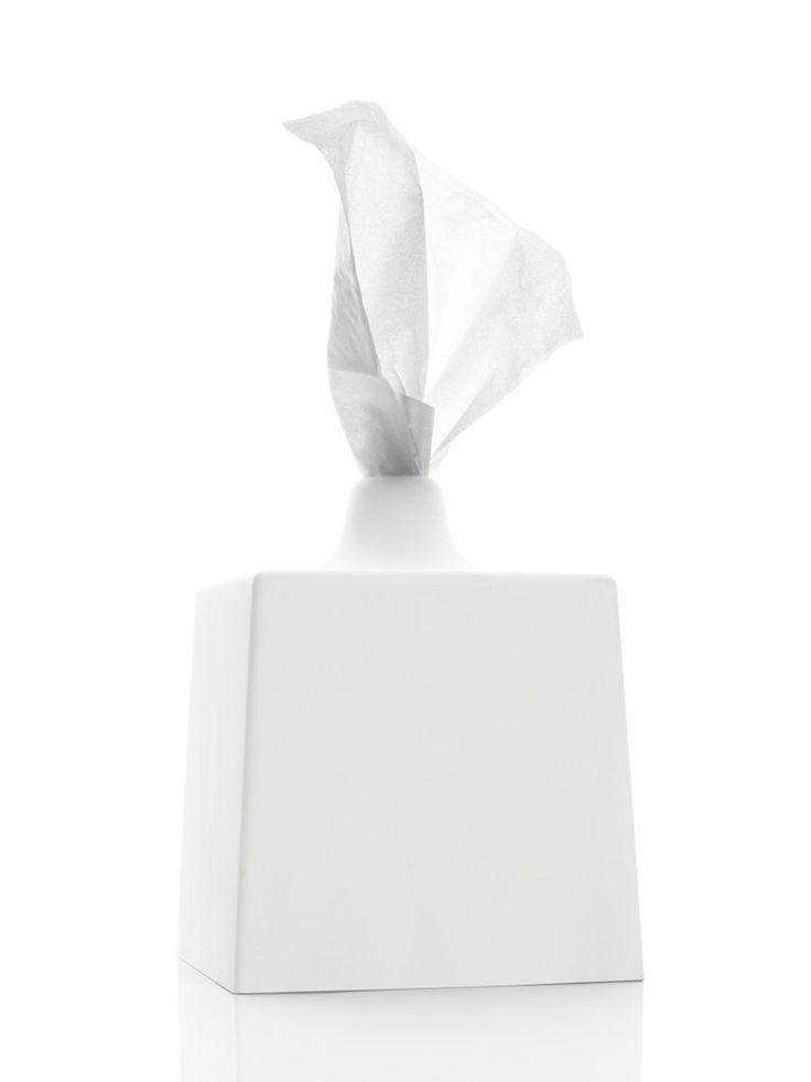 Kontextür Tissue Box Cover in Porcelain White