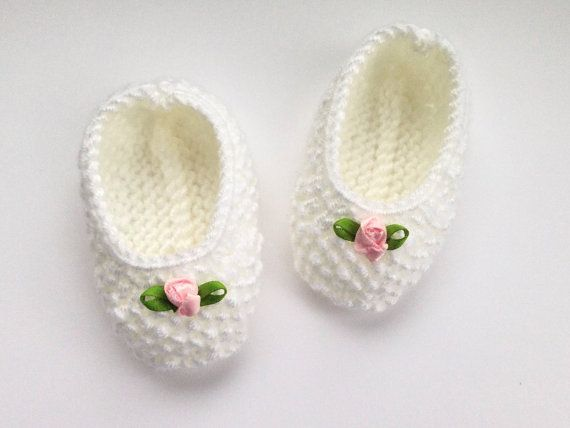 Baby Ballet Pumps / Baby Shoes.  Handknitted White by NoahandNoo