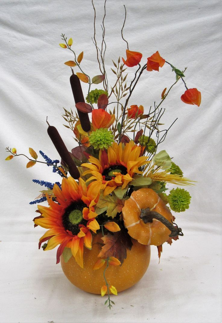 Orange Gold Sunflower Fall Silk Floral Arrangement In Pumpkin Bh23