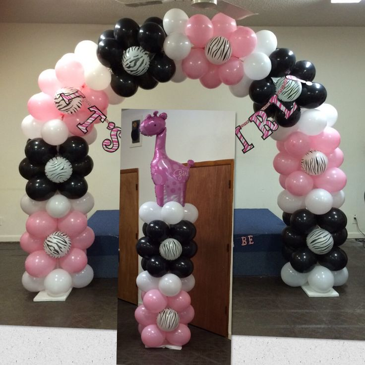 Pink Safari Themed Balloon Arch And Balloon Column ...  Shellysdecor4you@gmail.com. Balloon ColumnsBalloon ArchBaby Shower ...