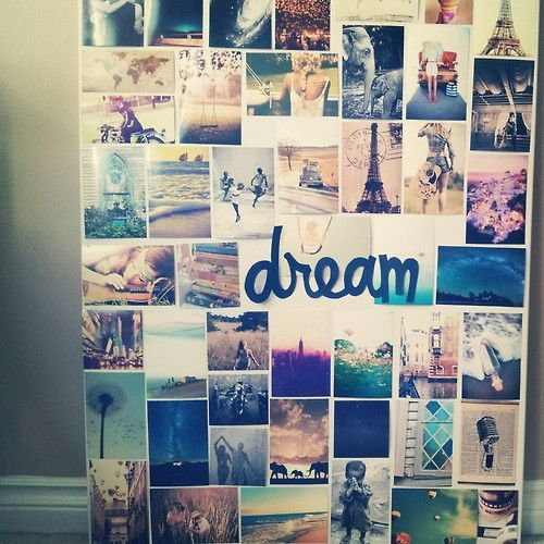 I love this version of a dream board. Beautiful and lots of pictures. It's perfect! I would be short quotes in some of the squares spaces though.