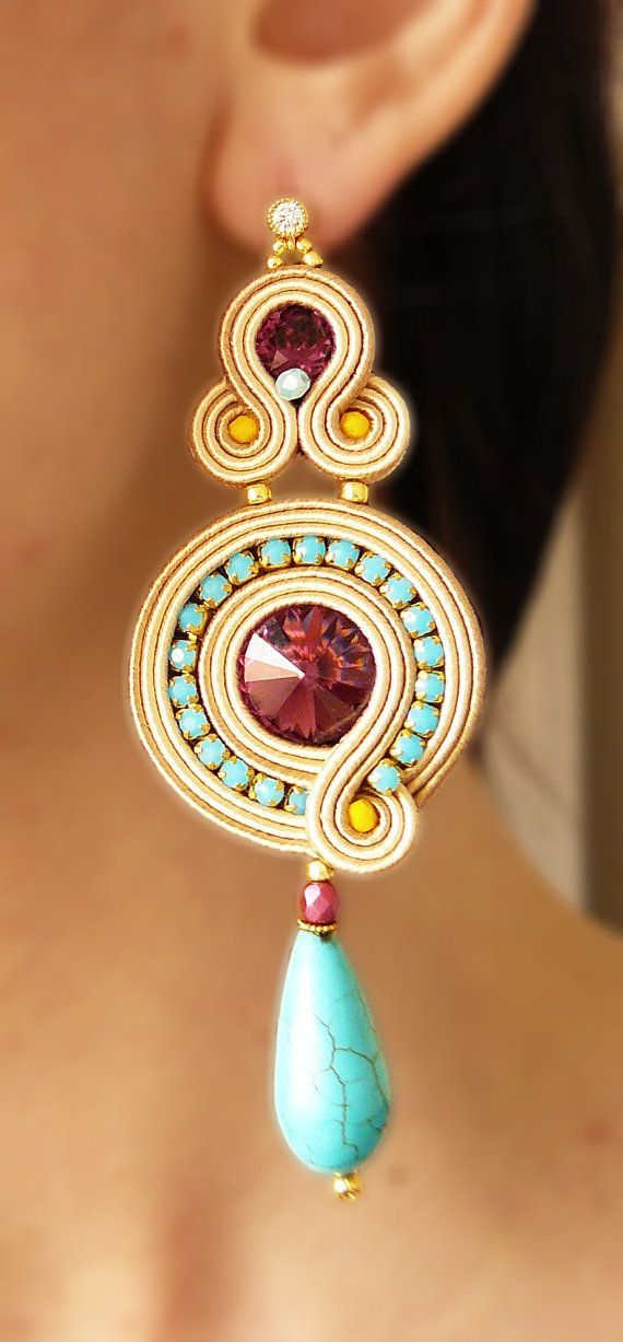 cool Soutache Earrings, Handmade Earrings, Hand Embroidered, Soutache Jewelry, Handmade from Italy, OOAK