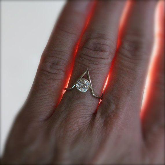 Geometric White Gold CZ Engagement Ring Modern by NangijalaJewelry