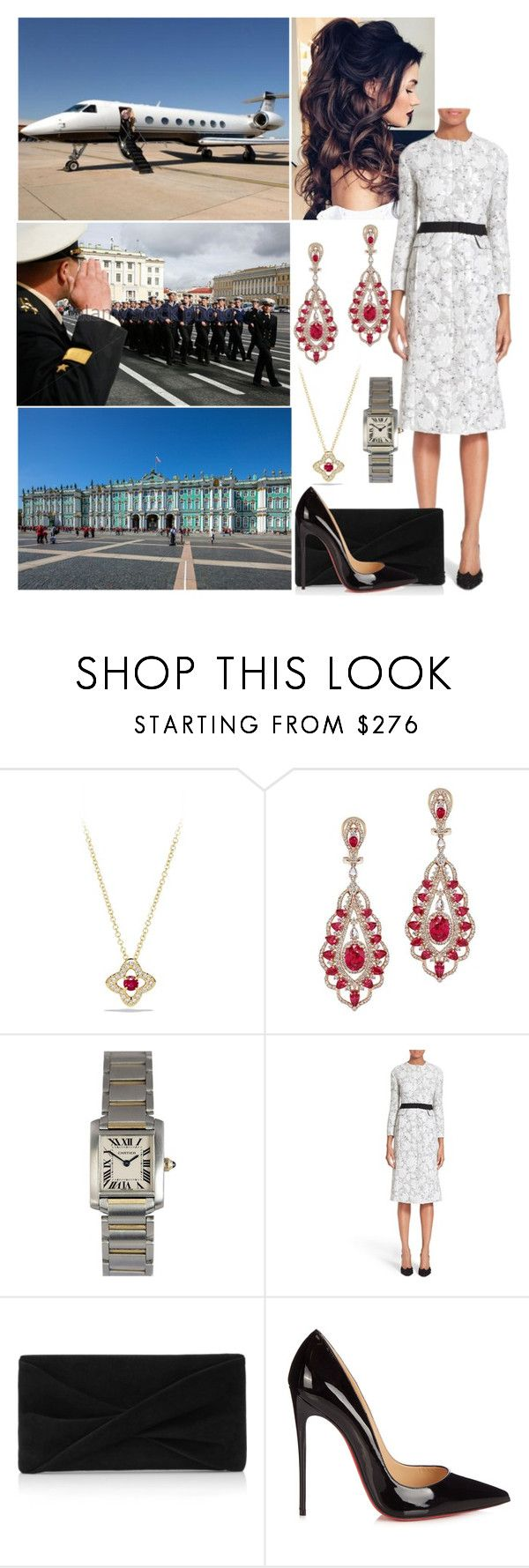 """Day 3 - Viewing Troops and Leaving from Moscow Airport"" by alicewindsor ❤ liked on Polyvore featuring David Yurman, Cartier, Oscar de la Renta, Reiss and Christian Louboutin"