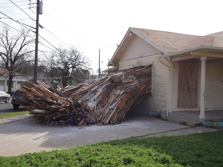 The house is throwing up! Chris Burch created an interesting site-specific project in Austin, TX.