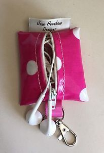 Earbud case,Headphone case,Earphone organiser,Earbud keychain,Pink Spotty  | eBay