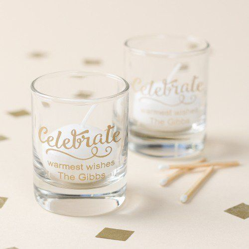 No holiday party is complete without a shot. That's exactly why you should liven up your party with these personalized holiday shot glass votive holders!