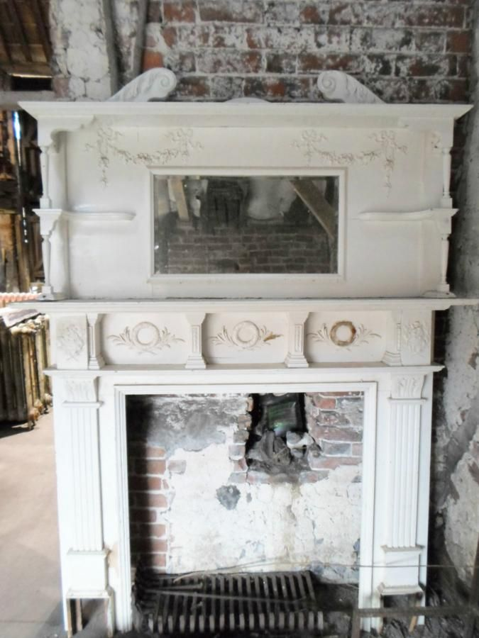 Victorian Fireplace Mantel with Mirror | FOR SALE : EARLY VICTORIAN FIREPLACE SURROUND AND OVER-MANTLE MIRROR