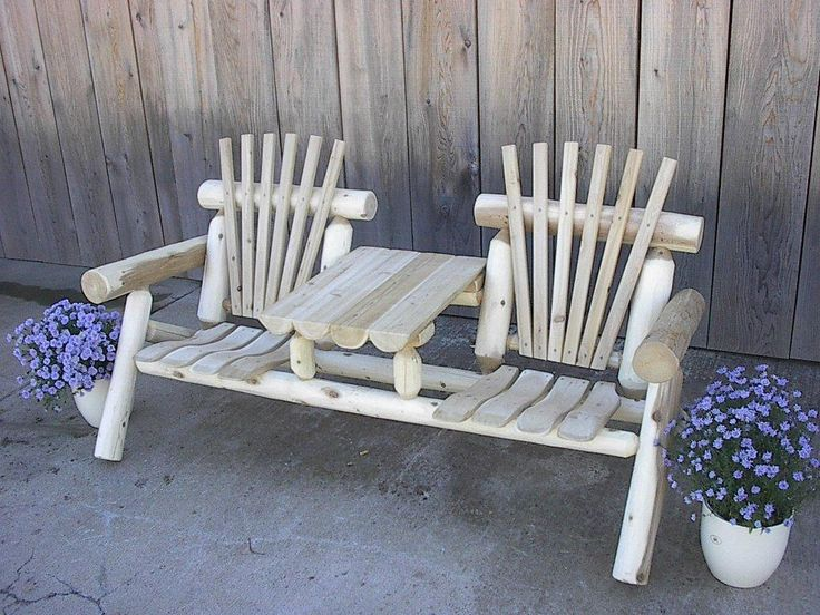 Usa White Cedar Log Rustic 6 Foot Settee Bench With Center Table Ft Length Natural Patio Furniture Steel