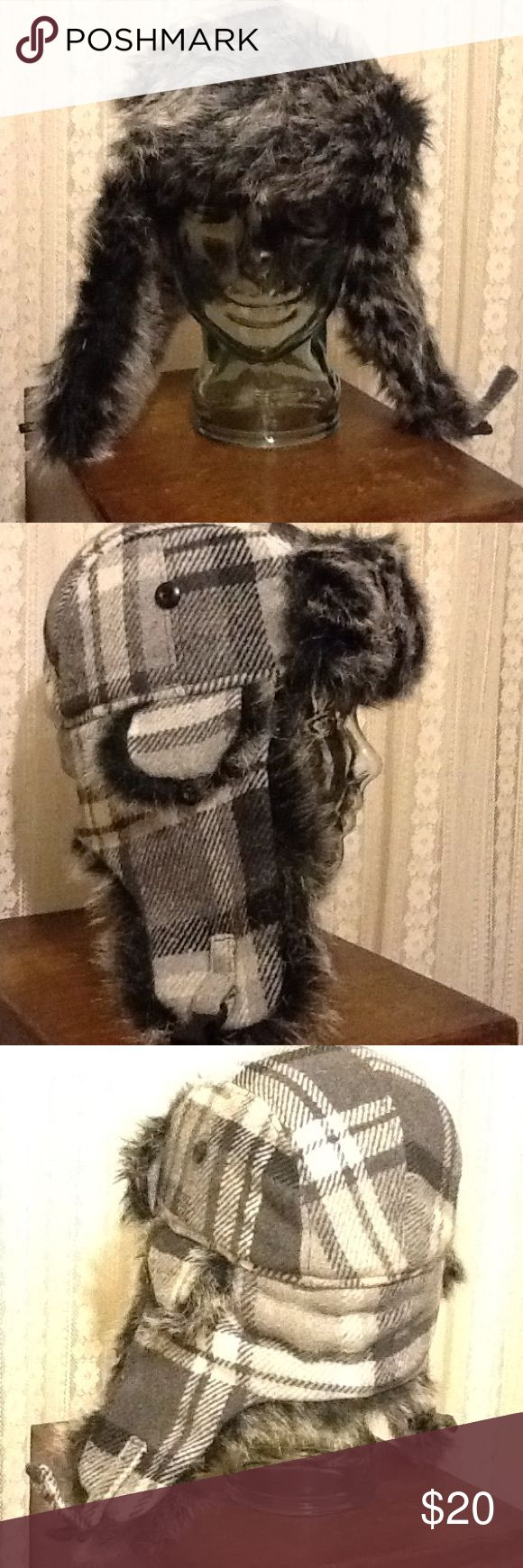 Black Gray Plaid Hipster Hat With Flaps Cool winter hat to keep you warm on those chilly days that are coming. In great condition. Flaps up or flaps down. One size fits most. U3i Accessories Hats