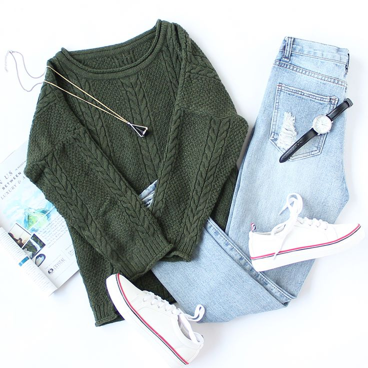 Time to refresh your wardrobe with cozy & stylish sweaters. #sneakers #knitwear #armygreen #sweaterweather #womenoutfit #romwe