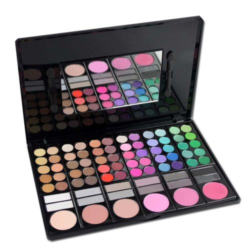 professional 78 color cosmetics eye shadow lip gloss blush foundation makeup palette with mirror foam tip - Coloration Professionnelle