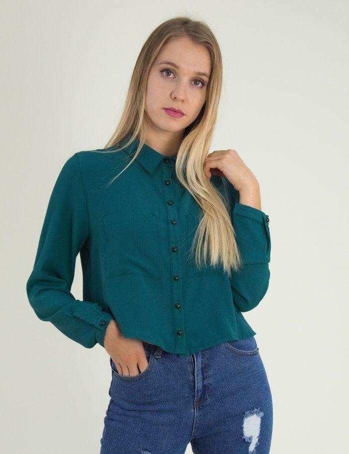e9f863bbe98b Γυναικείο κυπαρισσί κοντο πουκάμισο τσεπάκια πέρλες Coocu 21990C  τορούχο   torouxo  φθινοπωρινά  πουκάμισα  online  eshop  ρούχα  rouxa