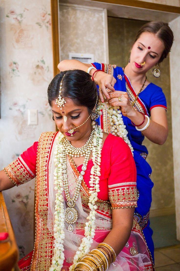 indian bride getting ready | long jasmine flower garlands | Hindu Vedic Ceremony Florida | Lotus Eyes Photos